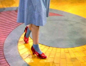 The Wizard of Oz (1939) Directed by Victor Fleming Shown: Judy Garland (as Dorothy Gale) on the Yellow Brick Road, wearing the ruby slippers